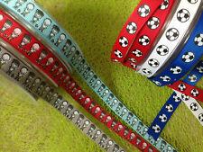 CARTOON FOOTBALLER & FOOTBALL - Sport Grosgrain Ribbon -Var colours lengths 12mm