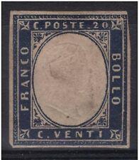 SARDEGNA 1862 c. 20 indaco n° 15E NUOVO MH* PERFETTO CON 4 MARGINI € 160,00
