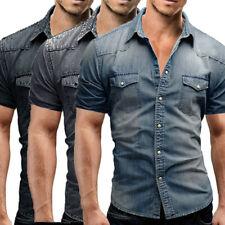 Nouvelle homme Casual Slim Fit bouton chemise avec poche manches courtes shirts
