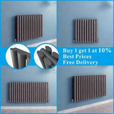 Horizontal Designer Radiator Oval Panel Column Central Heating Anthracite UK