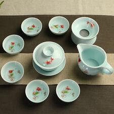 Longquan celadon tea set kung fu porcelain tea pot gaiwan tureen tea cups fish