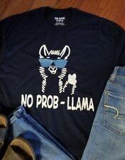 No Prob-Llama long sleeved t-shirt navy or gray all sizes love LLamas Llama gift