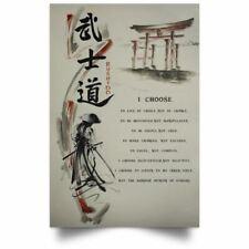 I Choose Motivation Quote Poster Prints Bushido Samurai Japanese Wall Art Decor