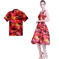Couple Matching Shirt Dress Luau Hawaiian Cruise Short Tank Dance Sunset Red
