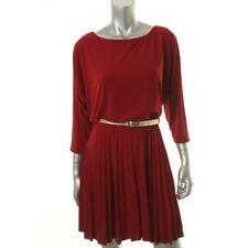 Alfani Red Matte Jersey Pleated Dolman Sleeves Wear to Work Dress w / belt - NEW