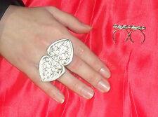 anello doppio dito DOPPIA GOCCIA  PL ARGENTO made in italy
