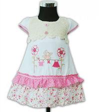 Nuevo Algodón Chica Vestido de fiesta en rosa white 9 12 18 24 meses