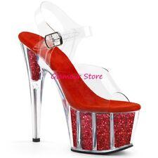 Sexy SANDALI GLITTER tacco 18 ROSSO/TRASPARENTE plateau da 35 a 42 scarpe U.S.A.