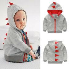 Infant Toddler Baby Boy Girl Dinosaur Pattern Hooded Zipper Tops Clothes Coat
