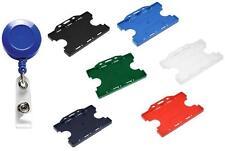 Retractable ID Card Badge Reel Ski Blue Reel & Double ID Card Pass Badge Holder