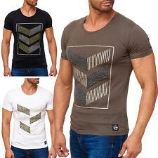 Herren T-Shirt Kurzarm Shirt O-Neck Glitzer Aufdruck 3D Short Sleeve Baumwolle