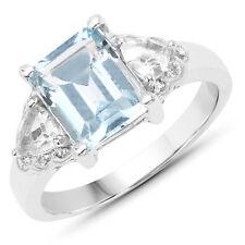3.26 ct Genuine Blue Topaz & White Topaz 925 Sterling Silver Engagement Ring