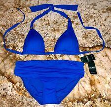 RALPH LAUREN Beach Club Solid Capri Blue Halter Bikini Swim Suit NEW Womens 8 12