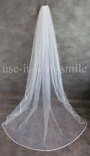 98'' Single Tier Ivory / White Chapel Length Wedding/Bridal Veil Satin Edge NEW