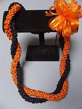 Hawaiian Rattail Graduation Ribbon Lei Black Orange