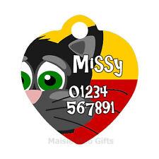 Dibujos Animados Personalizados Id Mascota   Cat Metal nombre forma de corazón de la etiqueta para collar