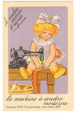 POSTCARD FRENCH SINGER SEWING 1929 CHROMO MODEL 15 K71