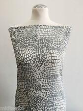 Grey and White Animal Print Crinkle Crepe M145-21 Mtex