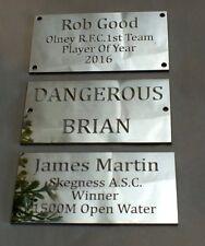 Diamond Cut Engraved Mirror Polished Aluminium Name Plate Plaque 75 x 38 x 1.5mm