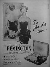 PUBLICITÉ 1955 REMINGTON CONTOUR RAND LE MEILLEUR RASOIR ÉLECTRIQUE QUI RASE