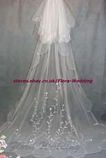 """2 tiers 95 """"L Chapelle / cathédrale long trailing bridal wedding veil, conception de broderie"""