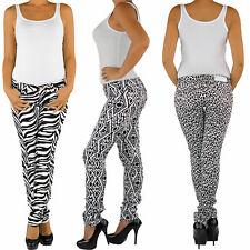 Damen Röhrenhose Stretch Hüfthose Jeans Zebra Leoparden Muster Optik Skinny Yer