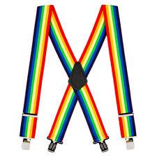 Rainbow Striped Clip Suspenders - 2 Inch Wide
