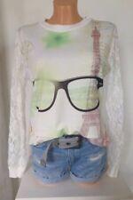 NEU HEINE Langarmshirt Sweatshirt PARIS Brille Eifelturm Spitze GR 40 42 44 46