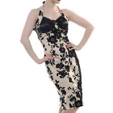 BANNED Apparel Crème Beige & Noir Floral Rockabilly Vintage Pinup robe UK 8-22