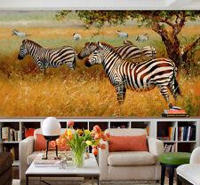3D Zèbre Forêt 811  Photo Papier Peint en Autocollant Murale Plafond Chambre Art