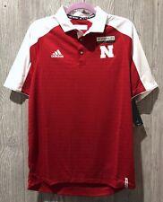 ADIDAS Nebraska Cornhuskers Red White MV Coaches Sideline Polo Shirt NEW Mens M