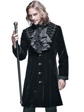 Manteau brodé avec col relevable homme noir velours gothique vampir Devil Fashio