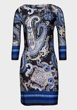 Ladies Womens Printed Dress Slinky Poly Boat Neck Ornamental print Blue Top