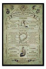 Framed Harry Potter Hogwarts School List Poster New