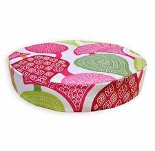 LL414r White Apple Green Pink Fushcia Red Leaf Cotton 3D Box Round Cushion Cover