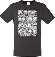 T Shirt im Graphiteton mit einem Gothik-,Biker-&Tattoomotiv Modell Skulls Bling