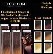 EURO SOCAP EXTENSION 1 CONFEZIONE DA 6 FASCE SHATUSH IN BIADESIVO 100% REMY