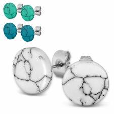 Marmor-Struktur Ohrstecker 1 Paar marmoriert rund weiß blau türkis Ohrringe