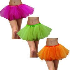Tulle 80s Fluoro Neon Colour Tutu Skirt Women Costume Hot Pink Green Orange Plus