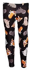 Infantil/Chicas Lindas cachorros de Perros Animal Print Leggings talla 5 -10