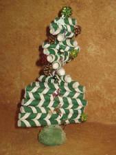 Vintage Handmade Green Candy Cane Christmas Tree Holiday Decoration Felt