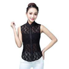 Women Fake False Collar Floral Lace Detachable Sleeveless Shirt Blouse Bib Lapel