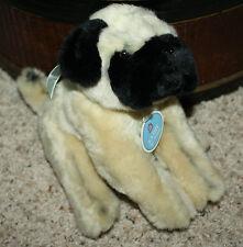 "NEW KATHY VAN ZEELAND Plush Pug Dog Puppy Tan Black w/ Blue ribbon NWT 9"" #H5"