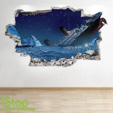 TITANIC  WALL STICKER 3D LOOK - BEDROOM LOUNGE BEACH SHIP  WALL DECAL Z554