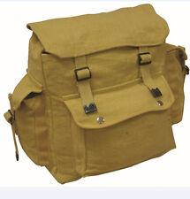 Mens Combat Military Rucksack Travel Back Pack Canvas Surplus Shoulder Bag Beige