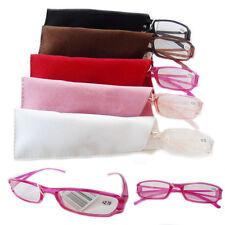Reading Glasses Multicolor Frame Stylish Men Women Hinge Book Plastic Glass Case