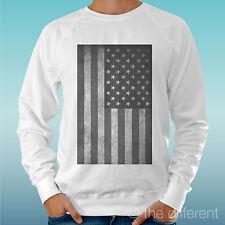 "FELPA UOMO LEGGERA SWEATER BIANCO "" BANDIERA AMERICANA VINTAGE FLAG AMERICAN"