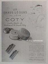 PUBLICITE COTY FARDS ROUGE A LEVRES MAQUILLAGE BEAUTE ART DECO DE 1936 FRENCH AD