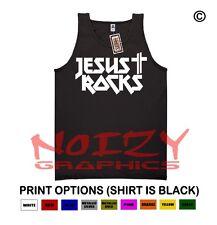 Jesus Rocks Cross Christian TANK TOP Jesus Religious Black Shirt Metal Worship
