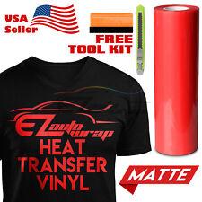 "Matte Red Heat Transfer Vinyl HTV T-Shirt 20"" Wide Roll Iron On / Heat Press"